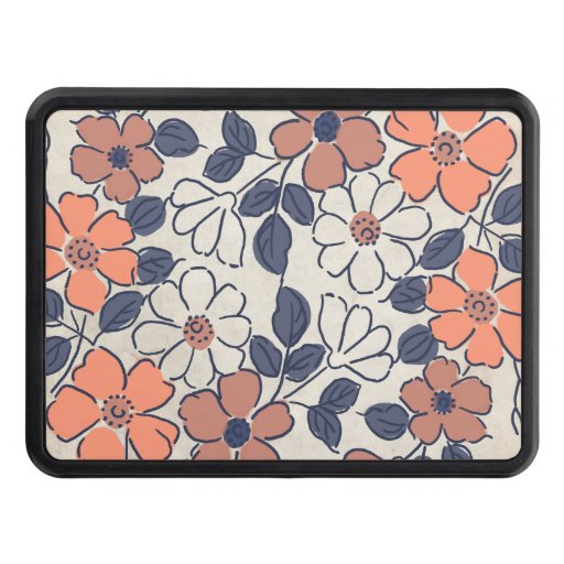 Vintage Coral and Navy Floral Wedding Tow Hitch Cover