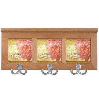 Vintage Coral Pink Rose Handwriting Ornate Frame Coat Rack