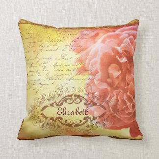 Vintage Coral Pink Rose Handwritting Ornate Frame Pillow