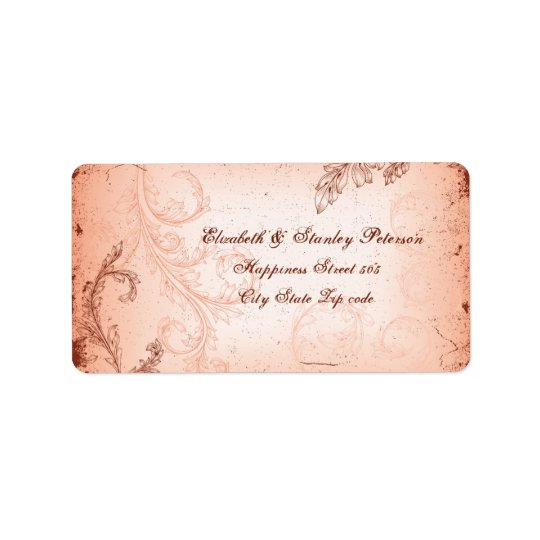 Vintage coral scroll leaf wedding label