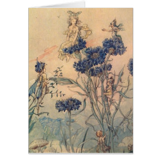 Vintage Cornflower Fairies, Card