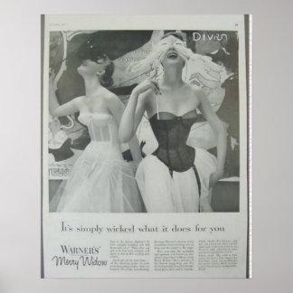 Vintage Corset Advertisement,Warners Merry Widow Poster
