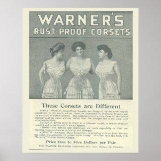 Vintage Corset Advertisement,Warners Rust Proof Poster