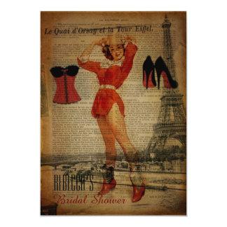vintage corset bridal party lingerie shower card