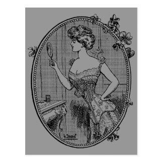 Vintage Corset Lady Postcard