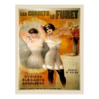 Vintage corsets,Les corets de Furet Postcard