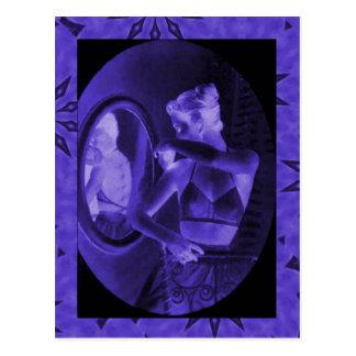 Vintage corsets,Looking in the mirror, amethyst Postcard