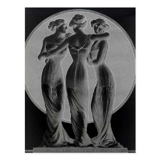 Vintage corsets, Three graces Black Postcard