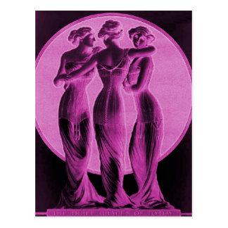 Vintage corsets, Three graces pink Postcard