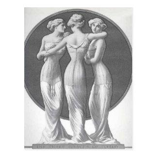Vintage corsets, Three graces Postcard