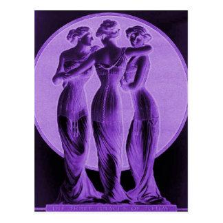 Vintage corsets, Three graces purple Postcard