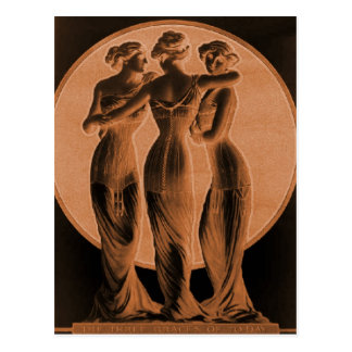 Vintage corsets, Three graces terra cotta Postcard