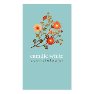 Vintage Cosmetologist Colourful Orange Red Flowers Pack Of Standard Business Cards