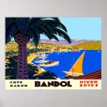 Vintage Cote D'Azur Bandol French Travel Poster