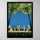 Vintage Cote D'Azur Toute Lannee French Travel Poster