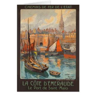 Vintage Cote d'Emeraude Saint Malo Port Tourism Card
