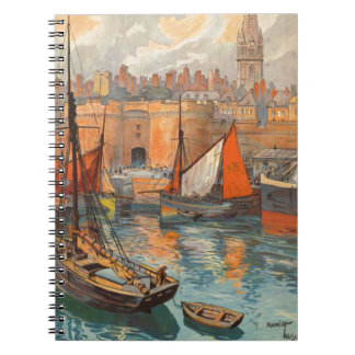 Vintage Cote d'Emeraude Saint Malo Port Tourism Spiral Notebook