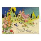 Vintage Cottage Birthday Greeting Card