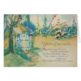 Vintage Cottage Happy Birthday Card