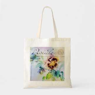 Vintage cottage pansy flower postcard PERSONALIZE Tote Bag