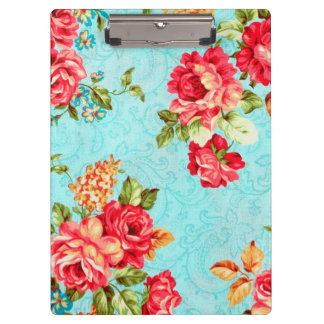 Vintage Cottage Red Rose Floral Clipboard