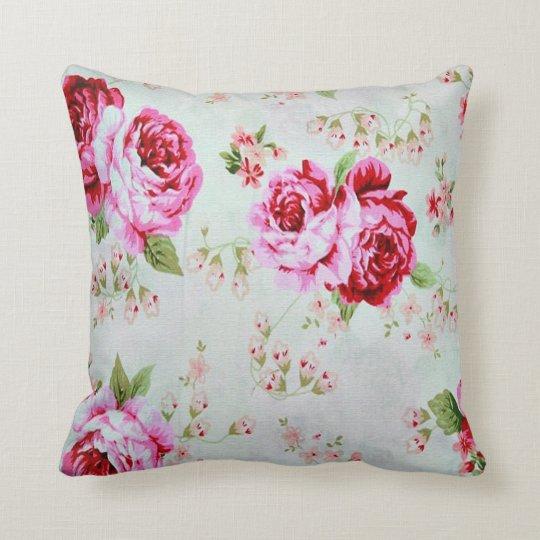 Vintage Cottage Rose Floral Decorative Pillow