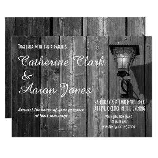 Vintage Country B&W Barn Wedding - Invitation