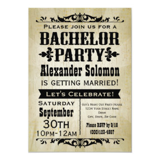 Vintage Country Bachelor Party Invitation