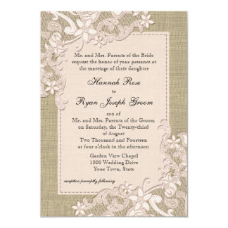 Vintage Country Blush Lace Design and Burlap Personalized Announcements