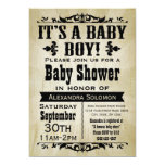 "Vintage Country Boy Baby Shower Invitation 5"" X 7"" Invitation Card"