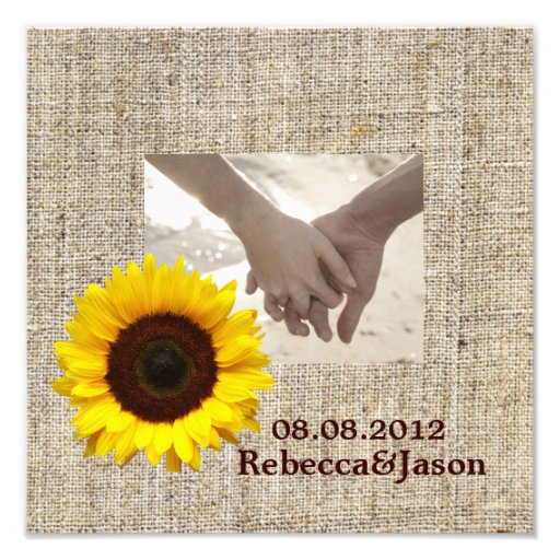 vintage country burlap  yellow sunflower wedding photo print