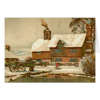 Vintage Country Chirstmas Farm Card