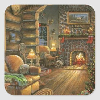 Vintage Country Christmas Cabin Square Sticker