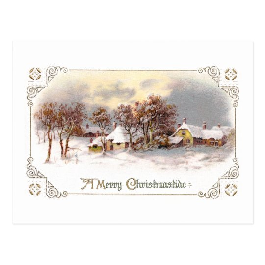 Vintage Country Christmas Postcard
