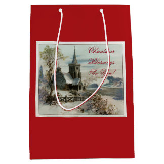 Vintage Country Church Medium Gift Bag