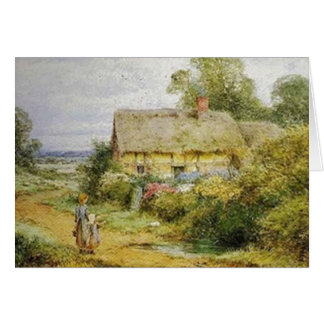 Vintage Country Cottage and Children Card