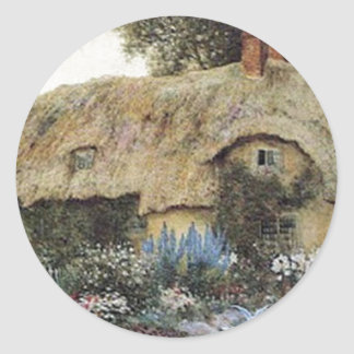 Vintage Country Cottage with Flower Garden Classic Round Sticker