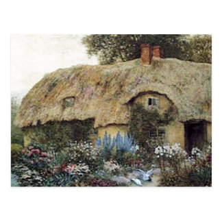 Vintage Country Cottage with Flower Garden Postcard