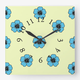 Vintage-Country-Cotton-Morning Glory*_Floral Square Wall Clock