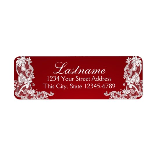 Vintage Country Floral Lace Red Return Address Label
