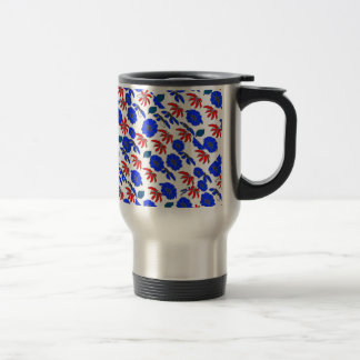 Vintage Country Floral mélange red white blue Travel Mug