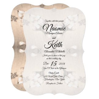Vintage Country Floral Wedding Invitation / Cream