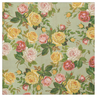 Vintage Country Floral Yellow Pink and Green Roses Fabric