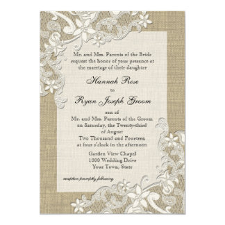 "Vintage Country Lace Design and Burlap 5"" X 7"" Invitation Card"