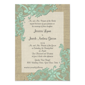 Vintage Country Lace Design Mint Green Card