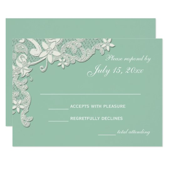 Vintage Country Lace Style Design Mint Response Card