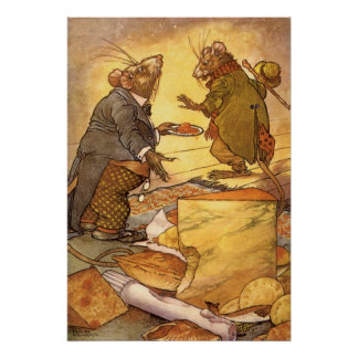 Vintage Country Mouse City Mouse Aesop s Fable Poster