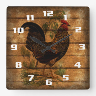 Vintage Country Rooster On Rustic Wood Clock