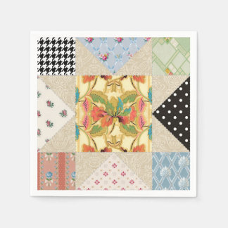 Vintage Country Style Evening Star Quilt Pattern Disposable Napkins
