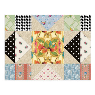 Vintage Country Style Evening Star Quilt Pattern Postcard